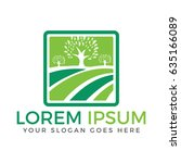 organic farm logo design.... | Shutterstock .eps vector #635166089