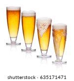 set of glass of light beer foam.... | Shutterstock . vector #635171471