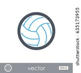 volleyball outline vector icon. ... | Shutterstock .eps vector #635173955