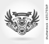winged motorcycle engine emblem ... | Shutterstock .eps vector #635175569