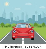 young woman driving a red car... | Shutterstock .eps vector #635176037