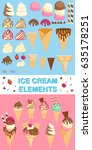 set of ice cream cone elements. | Shutterstock .eps vector #635178251