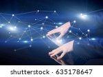 male hands touching interactive ... | Shutterstock . vector #635178647