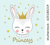 cute bunny princess. rabbit... | Shutterstock .eps vector #635180219