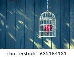 heart inside the bird cage... | Shutterstock . vector #635184131