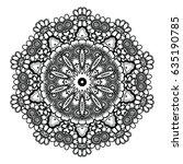 round mandala design. lineart.... | Shutterstock .eps vector #635190785
