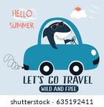 driver shark illustration... | Shutterstock .eps vector #635192411