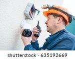 technician worker installing...   Shutterstock . vector #635192669