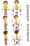 set for animation. vector boy. | Shutterstock .eps vector #635204429