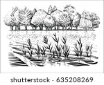 black and white vector... | Shutterstock .eps vector #635208269