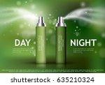 spray bottles isolated on green ... | Shutterstock .eps vector #635210324