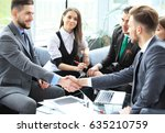 business people shaking hands ... | Shutterstock . vector #635210759