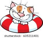 funny cat cartoon on lifebuoy   ... | Shutterstock .eps vector #635211401