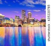 the boston skyline at night ... | Shutterstock . vector #635220785
