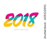 2018 happy new year creative... | Shutterstock .eps vector #635222051