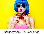 beautiful young sexy girl dj in ... | Shutterstock . vector #635225735