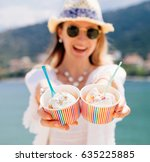 happy smiling young woman in... | Shutterstock . vector #635225885