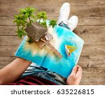 tropical island with bungalow... | Shutterstock . vector #635226815