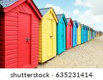 Beach Huts Or Colorful Bathing...