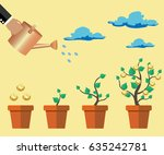 a tree with coins in the pot | Shutterstock .eps vector #635242781