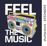 retro boombox print design as... | Shutterstock .eps vector #635246045