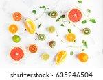 colorful fresh fruit on white... | Shutterstock . vector #635246504