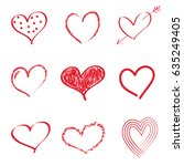 collection of hearts isolated... | Shutterstock .eps vector #635249405