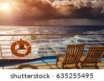 watching sunset from cruise... | Shutterstock . vector #635255495