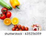 diet food with fresh fruits and ... | Shutterstock . vector #635256359
