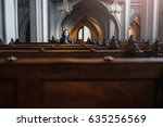 a believing woman sits on a... | Shutterstock . vector #635256569
