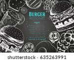 burgers and ingredients for... | Shutterstock .eps vector #635263991