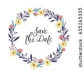 save the date hand lettering... | Shutterstock .eps vector #635265335