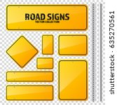 road yellow traffic sign. blank ... | Shutterstock .eps vector #635270561
