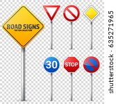 road signs collection. road... | Shutterstock .eps vector #635271965