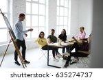 skilled male marketing expert... | Shutterstock . vector #635274737