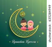 ramadan greeting card with... | Shutterstock .eps vector #635284949