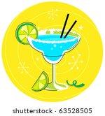 blue margarita  retro cocktail... | Shutterstock .eps vector #63528505