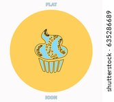 sweet cupcake blue outline...