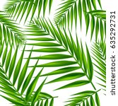 palm leaf seamless pattern.... | Shutterstock .eps vector #635292731