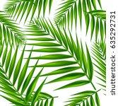 palm leaf seamless pattern.... | Shutterstock .eps vector #635292731