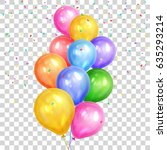 bunch of colorful helium... | Shutterstock .eps vector #635293214