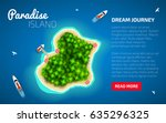 paradise island on blue sea... | Shutterstock .eps vector #635296325