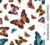 Stock vector vector butterflies pattern abstract seamless background 635299301