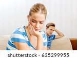 sad couple not talking after... | Shutterstock . vector #635299955