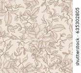 floral engraved seamless...   Shutterstock .eps vector #635302805
