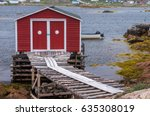 Red Fishing Shed On Wooden...