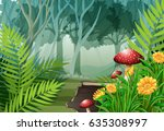 forest scene with trees and... | Shutterstock .eps vector #635308997