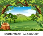 nature scene with stump in... | Shutterstock .eps vector #635309009