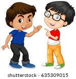 two boy characters with happy... | Shutterstock .eps vector #635309015