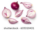 Red Sliced Onions Isolated On...